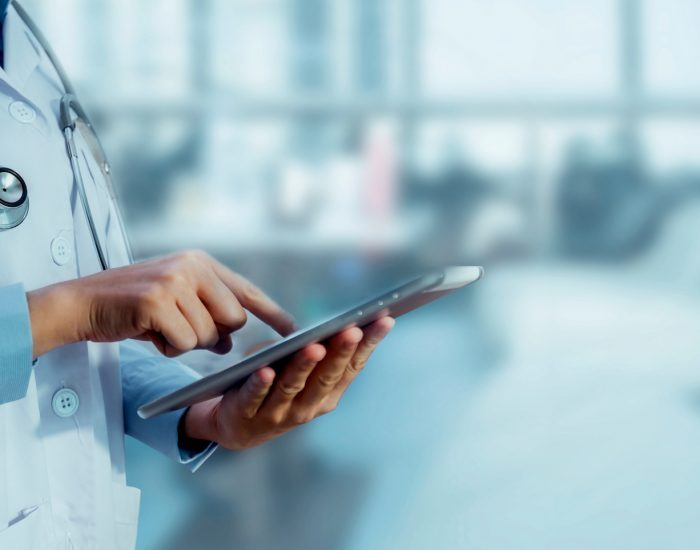 Medicine,Doctor,Touching,Tablet.,Medical,Technology,And,Futuristic,Concept.